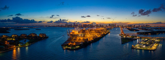 Wall Mural - Beautiful colorful sunset over Port of Miami shot with aerial drone
