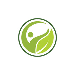 Organic leaf people logo template