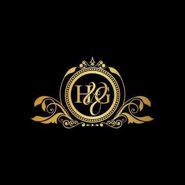 Initial letter HG logo luxury vector mark, gold color elegant classical symmetric curves decor.