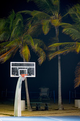 Basketball hoopwith palm trees Fort Lauderdale Florida USA