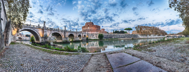 Fotomurales - Panoramic view of Castel Sant'Angelo fortress and bridge, Rome, Italy