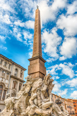 Fototapete - Obelisk and Fountain of the Four Rivers in Rome, Italy