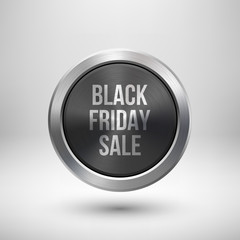 Fototapete - Black friday sale badge, abstract technology circle perforated button with metal texture, chrome, silver, steel and realistic shadow for logo, design concepts, interfaces, apps. Vector illustration.