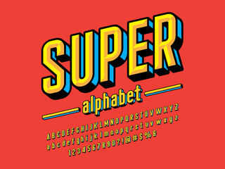 In de dag Pop Art Superhero comic style vector font with uppercase, lowercase, numbers and symbols