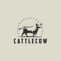 Cow Cattle logo template vector illustration