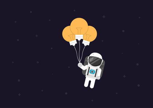 astronaut flying with lightbulb, creative concept