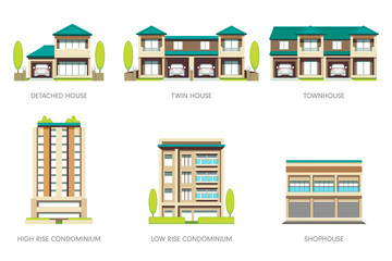 Houses of various types of people. Basic realty set.