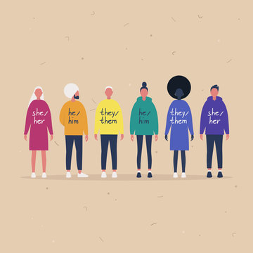 LGBT movement of young people wearing sweaters with their gender pronouns - she, he, them