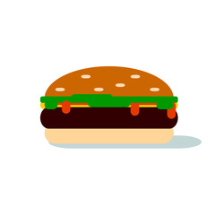 Simple graphic hamburger with lettuce, catsup & cheese