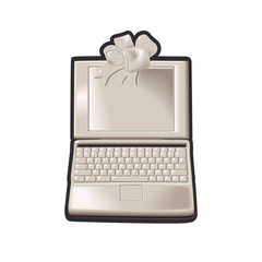 A computer laptop with a gift bow above the open screen