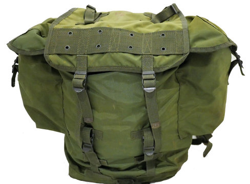 Green army military back pack