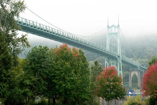 St Johns Bridge in Portland, Oregon in Early Autumn