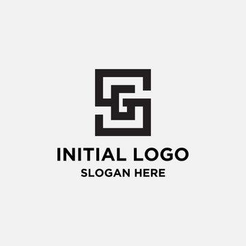 initial letter SG form box logo design - vector