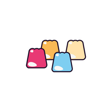 marshmallow sweet and candies icon line fill