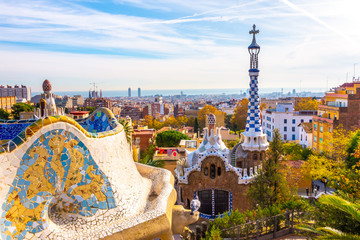Photo sur Aluminium Barcelone Panoramic view of Park Guell in Barcelona, Catalunya Spain.