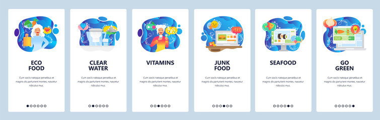 Food website and mobile app onboarding screens vector template