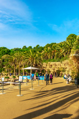 Fototapete - Barcelona, Catalunya ,Spain - Dicember 01, 2018: Park Guell by architect Gaudi. Parc Guell is the most important park in Barcelona.