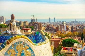 Fototapete - Panoramic view of Park Guell in Barcelona, Catalunya Spain.