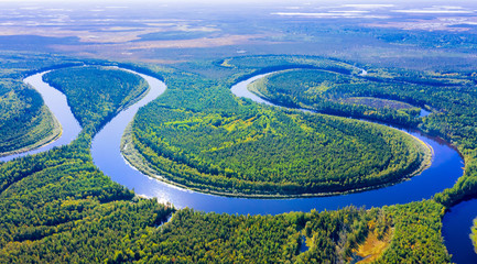 Aerial photography of landscape in Western Siberia. Agan River, tributary of Ob River.