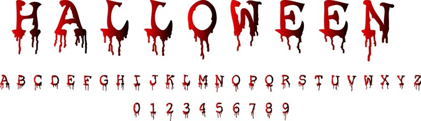 Halloween font and numbers on white background. Blood concept