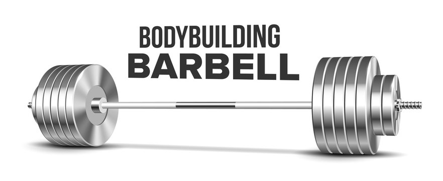 Barbell Weightlifting Gym Sport Equipment Vector. Glossy Silver Heavy Weight Iron Barbell For Strength Training. Gymnasium Powerlifting Heavyweight Tool Template Realistic 3d Illustration