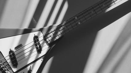 rare bass guitar closeup in the sun light . black and white