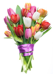 Photo sur Aluminium Tulip Colorful bouquet of tulips on white background.