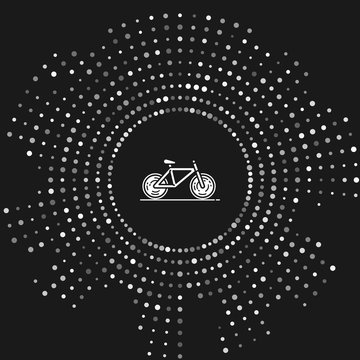 White Bicycle icon isolated on grey background. Bike race. Extreme sport. Sport equipment. Abstract circle random dots. Vector Illustration