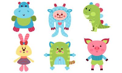 Six Cute Babies Animals Cartoon Characters Colorful Vector Illustration Set
