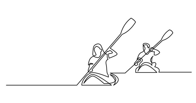 continuous line drawing of man and woman exercising kayaking on beautiful lake waters