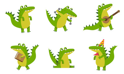 Alligators With Different Emotions In Various Poses Vector Illustrations Cartoon Character