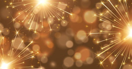 Fireworks and bokeh lights effect background. Vector golden New Year rockets or Christmas bokeh sparkle banner.