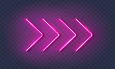 Neon arrow lamp wall sign isolated on transparent background. Vector pink power glowing bulb banner, light line element.