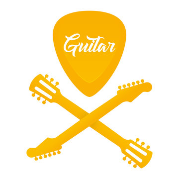 Vector gold logo guitar skull with crossbones. Isolated on white background.