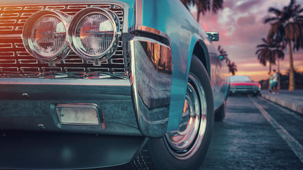 Foto op Canvas Vintage cars Blue vintage car.