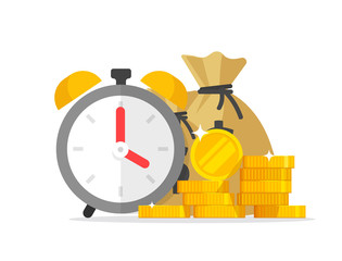 Time and money savings vector illustration, flat cartoon timer or alarm clock with lots of cash, financial waiting or transaction payment deadline, time save success