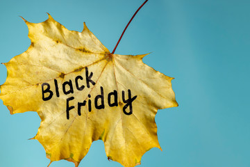 Black friday sale on a blue background. Black friday concept. Copy space