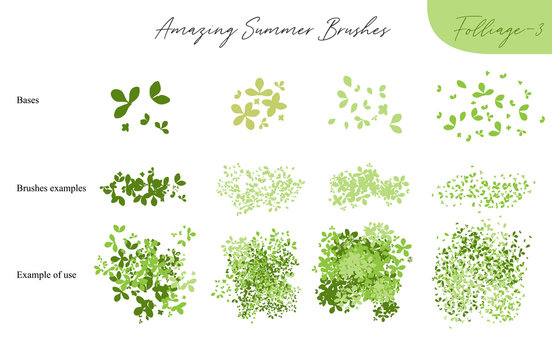 Set of summer vector foliage ecology brushes - silhouettes of summer leaves, foliage of trees, different greenery types isolated on white, vector illustration brush nature collection