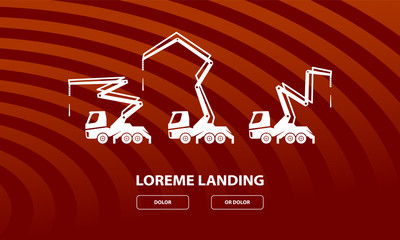 Concrete pump trucks set and different work positions. Construction machinery illustration for landing page template.
