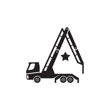 Concrete pump truck silhouettes logo. Looks like a letter A.
