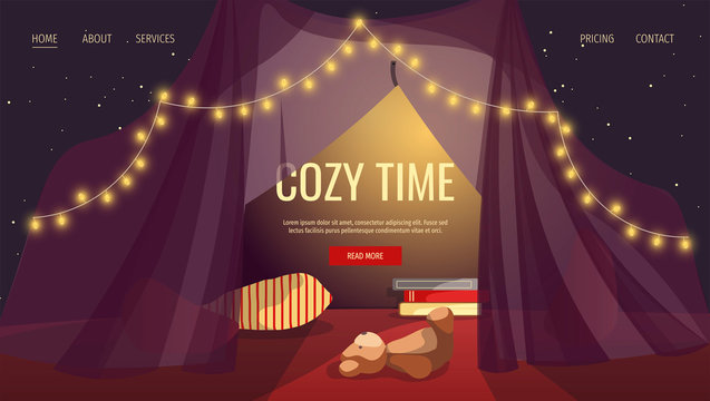 Web page design for Relaxing, Cozy, Comfort, Pleasant evening. Tent with garlands, pillows, books and teddy bear. Vector illustration for poster, banner and website development.