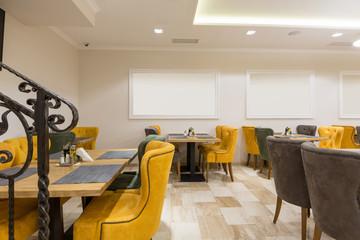 Interior of a hotel cafe restaurant