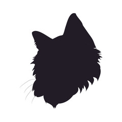 vector illustration of cat portrait, drawing silhouette, vector,