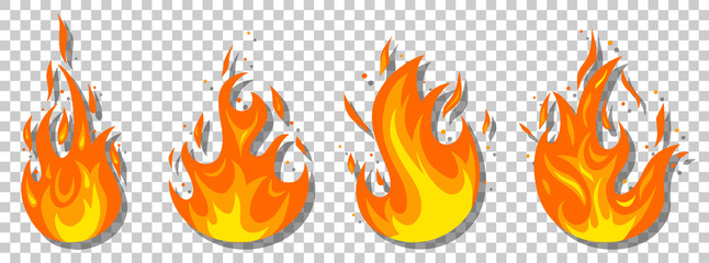 Set of different fires in cartoon style. Collection of red, orange flames. Danger situation and problems concept.
