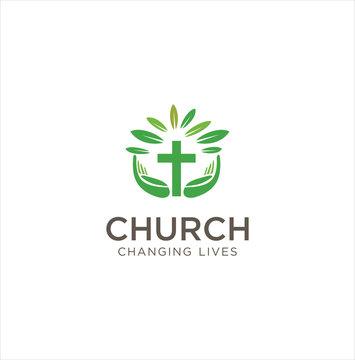 Nature Church Logo . Christian Logo Design Inspiration Stock . Praying hand holding cross religion church logo