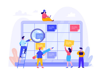 Schedule Planning Concept. Flat vector illustration on White Background. Template for landing page, ui, web, homepage, banner, infographics, hero images