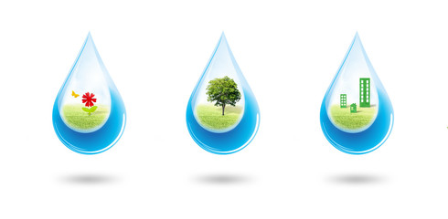 Ecology and Environmental Concept : Green trees, flowers and buildings in blue water drop falling to floor.