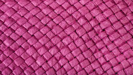 Wall Mural - weaving of summer straw hat from purple toyo fiber