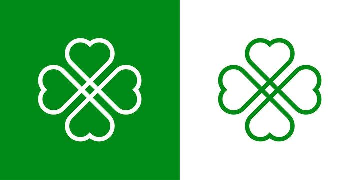 Logotipo con trebol lineal de 4 hojas enlazado en verde y blanco