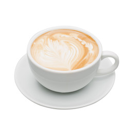 Hot coffee  topped with a art milk in white glass on a white background with clipping path.